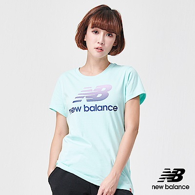 New Balance粉彩Logo短袖T恤AWT91576LRF_女藍色