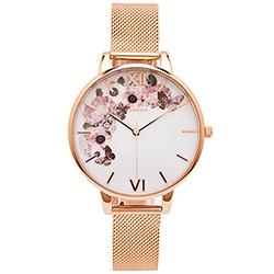 OLIVIA BURTON 蝶飛花朵風米蘭帶手錶(OB16WG18)-白面/38mm