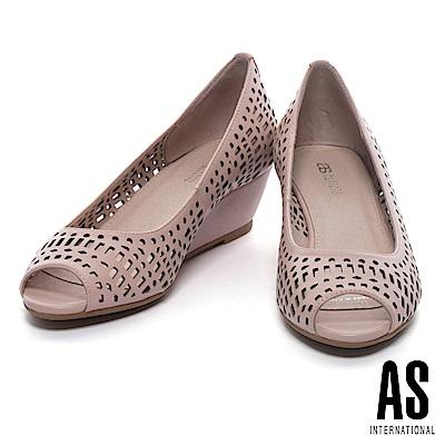 高跟鞋 AS 清新俐落沖孔造型羊皮魚口楔型高跟鞋-粉