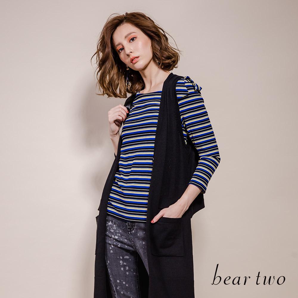 beartwo 圓領露肩條紋休閒針織上衣(深藍色)