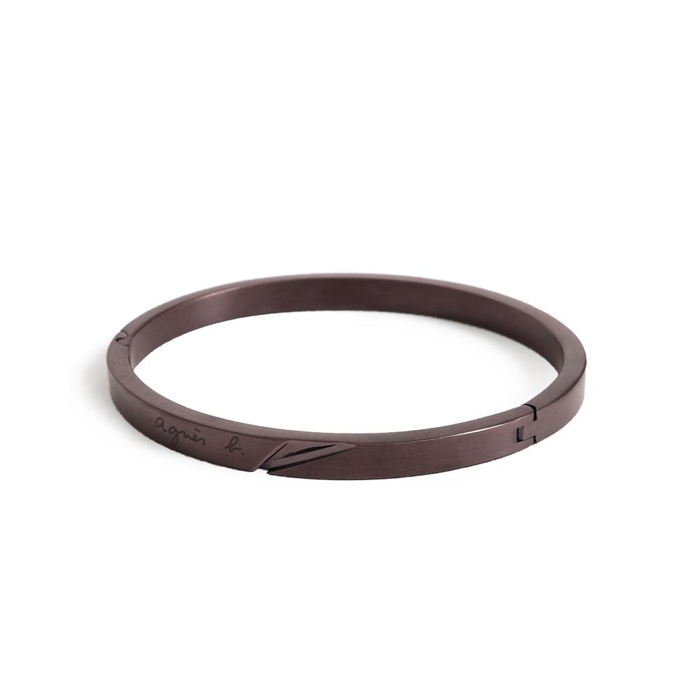 agnes b. 立體切面女性手環(棕)