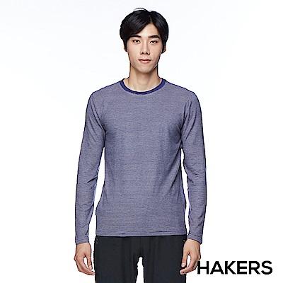 【HAKERS】男款 天絲棉條紋保暖衣(藍紫條)
