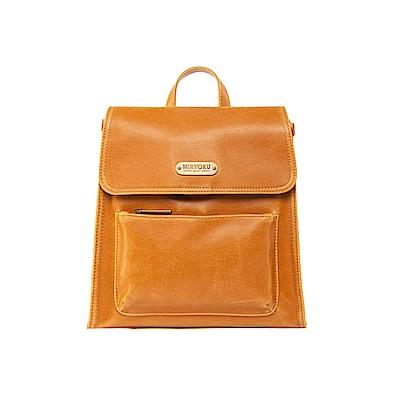 MIRYOKU 復古皮革系列 / 簡單俐落掀蓋設計造型後背包(共3色)