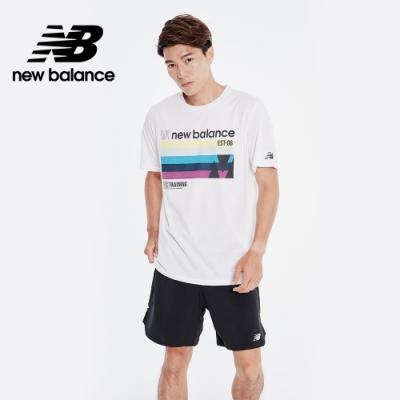 【New Balance】NB DRY科技棉感印花短袖上衣_男性_白色_AMT01071WB