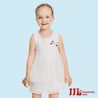 JJLKIDS 氣質蕾絲織紋網紗拼接洋裝(白色)