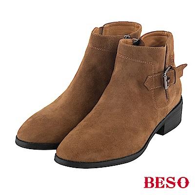 BESO 話題時尚 方釦微尖頭短靴~茶