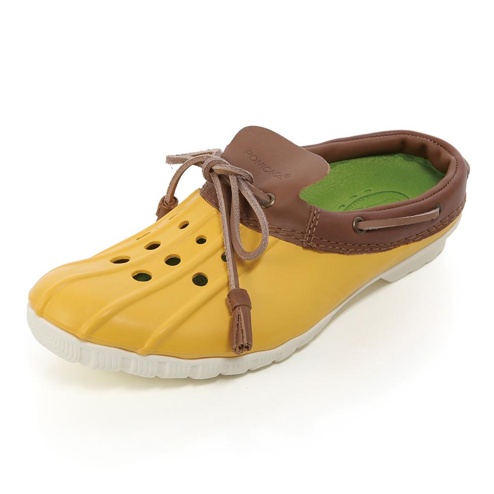 (女)Ponic&Co美國加州環保防水洞洞半包式拖鞋-黃色