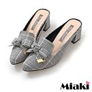 Miaki-穆勒鞋氣質甜美穿搭高跟鞋-千鳥紋