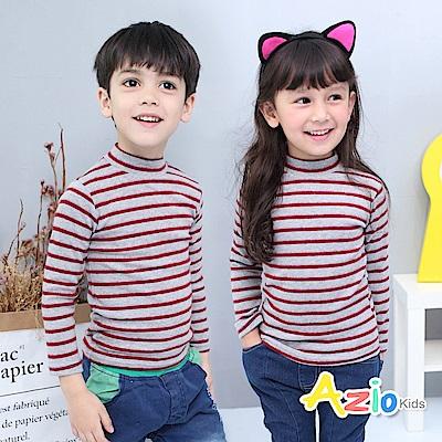 Azio Kids 上衣 磨毛條紋長袖保暖衣(灰底紅條)