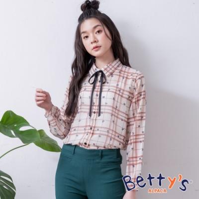 betty's貝蒂思 微透膚格紋領口綁結雪紡襯衫(卡其)