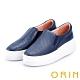 ORIN 引出度假氣氛 牛皮編織造型厚底便鞋-藍色 product thumbnail 1