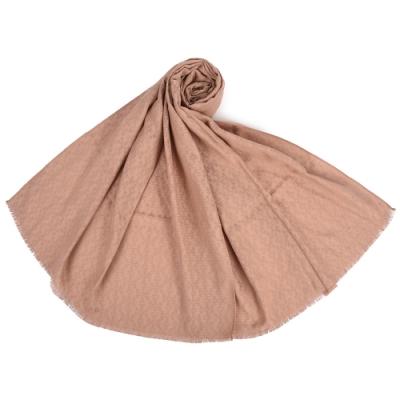 TORY BURCH MOSAIC 經典滿版LOGO緹花紋真絲混棉長圍巾-玫瑰褐