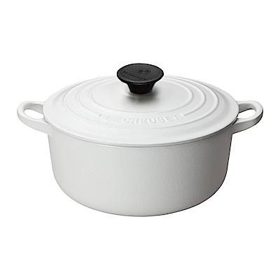 LE CREUSET 琺瑯鑄鐵圓鍋24cm-棉花白