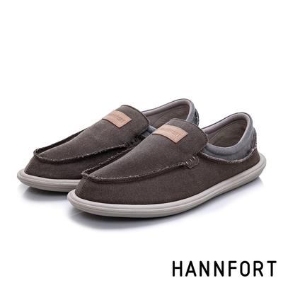 HANNFORT COZY可機洗帆布氣墊懶人鞋 男 深邃棕