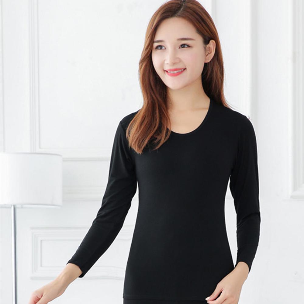 G+居家 女款輕磨毛暖暖發熱衣-圓領-黑色