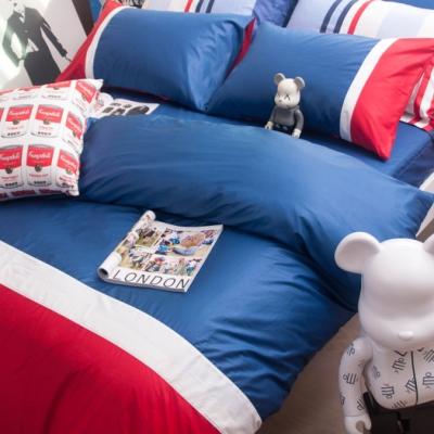 OLIVIA 英國藍 白 紅 特大雙人床包冬夏兩用被套四件組 200織精梳純棉 台灣製