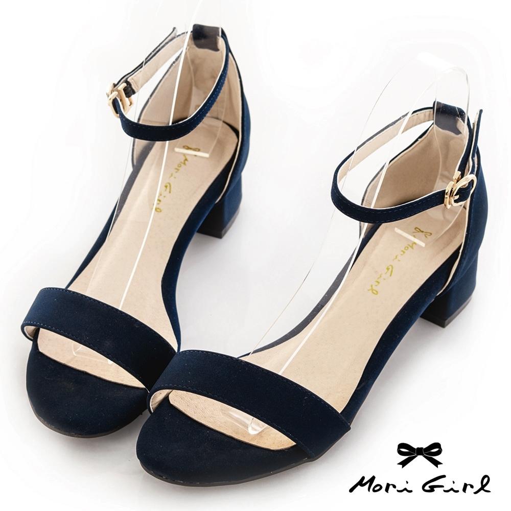 Mori girl夏日必備一字帶粗低跟涼鞋 藍