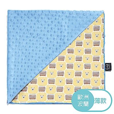 La Millou 單面巧柔豆豆毯(加大款)-蠟筆奶油獅(蒙地卡羅藍)-嬰兒毯寶寶被毯冷氣毯