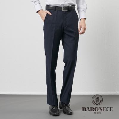 BARONECE 百諾禮士休閒商務  男裝 平口修身版西褲--藍條色(1206843-39)