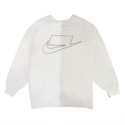 Nike 大學T NSW Women Crew 女款 運動休閒 特殊LOGO 背後拉鍊 穿搭 白 灰 CZ1431072
