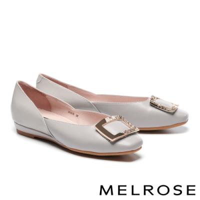 低跟鞋 MELROSE 質感百搭金屬方型飾釦造型真皮低跟鞋-灰