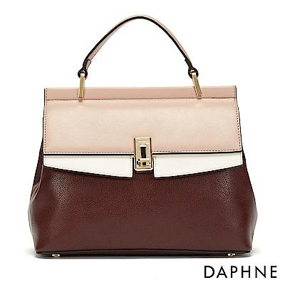 達芙妮DAPHNE-經典撞色金屬扣手提肩揹兩用包-酒紅