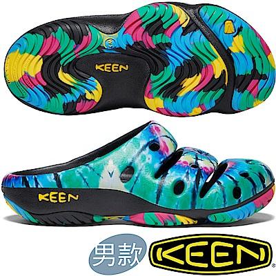 KEEN 1020293綠/彩色 Yogui Arts 男戶外護趾拖鞋/水陸兩用