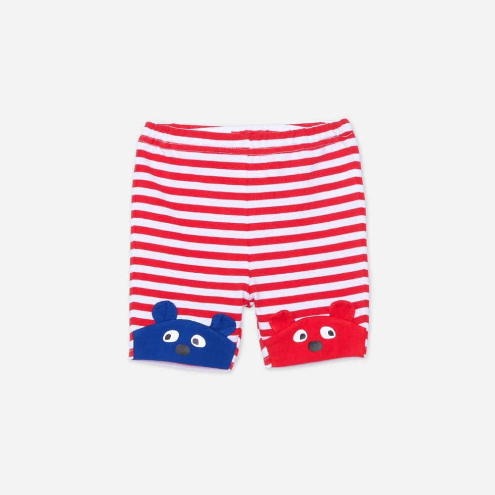 WHY AND 1/2 mini 條紋棉質萊卡短褲 1Y ~ 4Y (紅色)