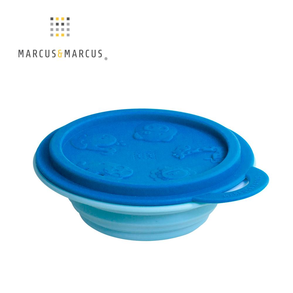 【MARCUS&MARCUS】動物樂園矽膠摺疊碗-河馬(深藍蓋/淡藍碗)