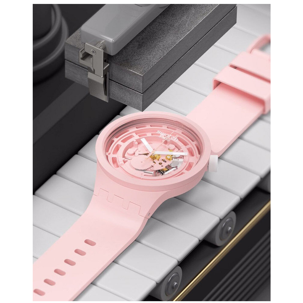 SWATCH 生物陶瓷 BIG BOLD系列手錶C-PINK 粉色(47mm)