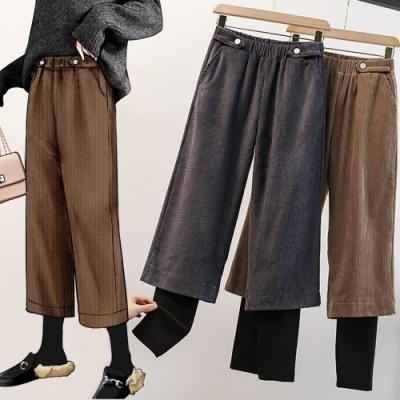 加絨保暖拼接羊羔毛假兩件燈心絨闊腿褲L-4XL(共二色)-KVOLL