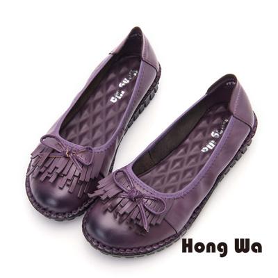Hong Wa 流蘇款舒適牛皮厚底包鞋- 紫