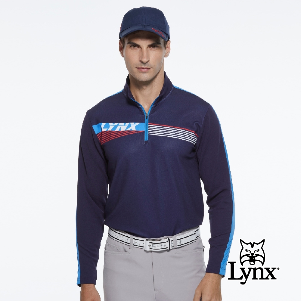 【Lynx Golf】男款合身版肩袖配線斜紋印花內刷毛長袖立領POLO衫-深藍色