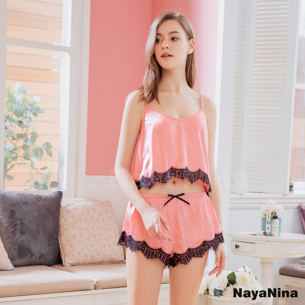 Naya Nina 簡約素面蕾絲粉黑細肩帶衣短褲二件式套裝居家睡衣-粉F