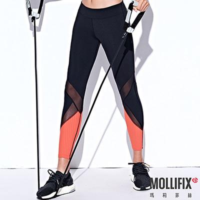 Mollifix 瑪莉菲絲 線性透膚7分動塑褲 (黑+橘粉)