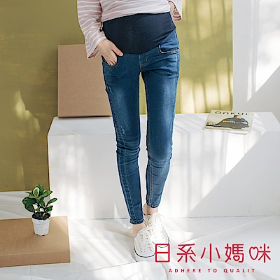日系小媽咪孕婦裝-孕婦褲 銅釦側車線牛仔褲 可調式瑜珈腰圍 S-XXL