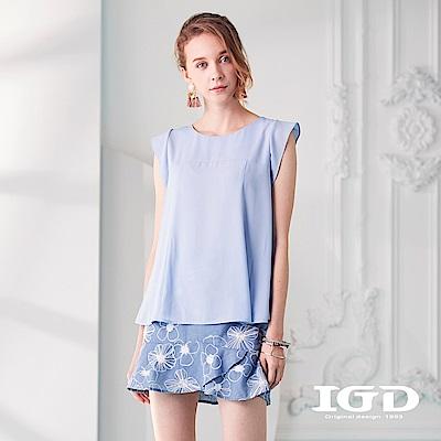 IGD英格麗 清爽剪接荷葉袖口上衣-藍色