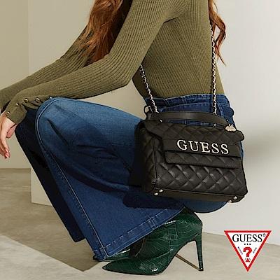 GUESS-女包-時尚菱格紋鍊條背帶肩背包-黑 原價2890