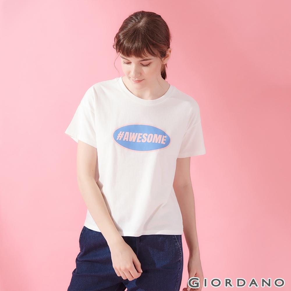 GIORDANO 女裝復古風格印花短袖寬版T恤-01 皎雪色