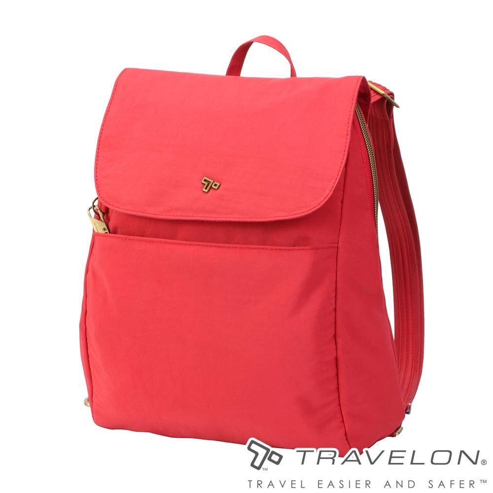 【Travelon美國防盜包】SIGNATURE後背包TL-SO2004莓紅/RFID/防盜鎖/防盜保護網/休閒旅遊包