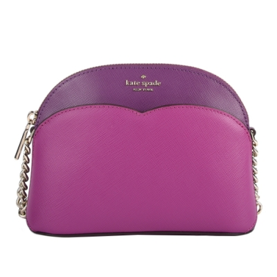 Kate Spade Payton Small Dome防刮皮革撞色貝殼包(小款)-桃紫色