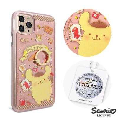三麗鷗 iPhone 11 Pro Max 施華彩鑽全包鏡面指環雙料手機殼-甜點布丁狗