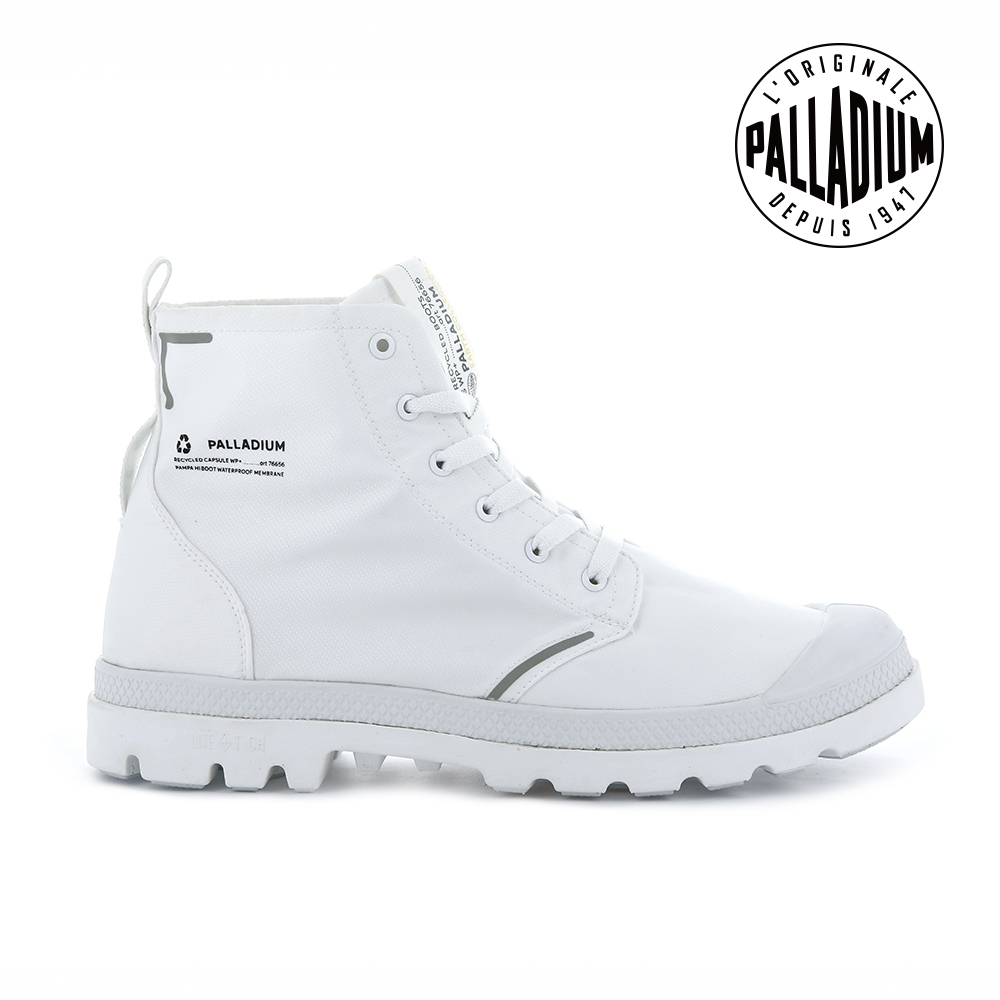 PALLADIUM PAMPA LITE+ RCYCL WP+再生纖維輕量防水靴-中性-白