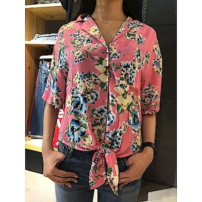 Levis 女款 短版襯杉 花卉印花 綁帶設計