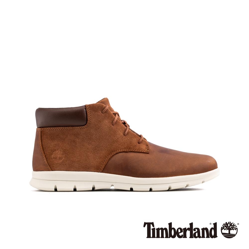 Timberland 男款棕色絨面革拼接休閒鞋 A1R12