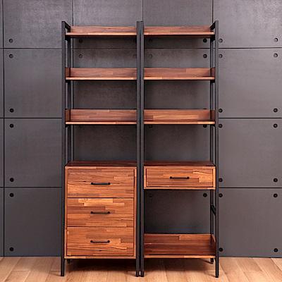 D&T德泰傢俱格萊斯積層木工業風三抽展示架+中抽展示架-120x43.8x196cm