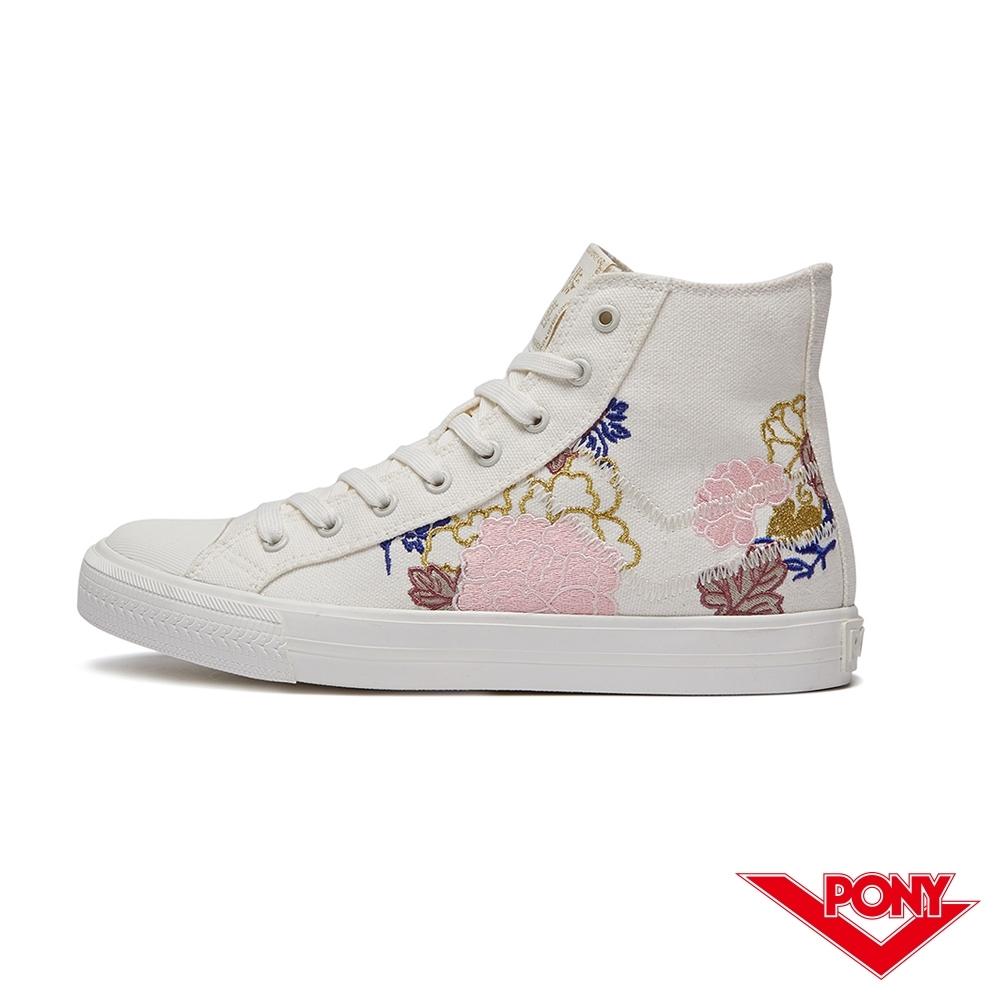 【PONY】Shooter系列花開富貴刺繡高筒帆布鞋 休閒鞋 女鞋 白