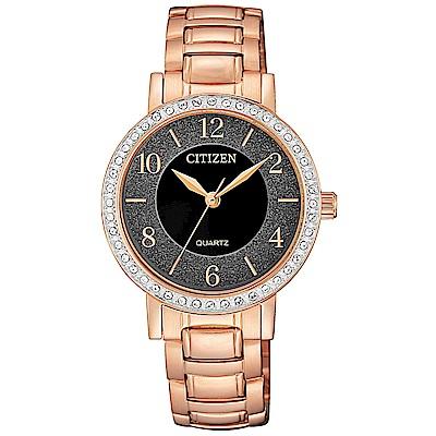 CITIZEN 星辰 閃耀晶鑽時尚手錶EL3048-53E-黑X玫瑰金/31mm