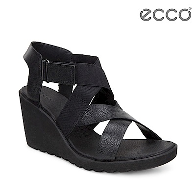 ECCO FREJA WEDGE SANDAL 交叉繞踝楔型涼鞋 女-黑