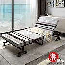 C est Chic-哲學之道6段收納折疊床-幅80cm(可拆洗免安裝)-褐色條紋
